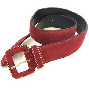 United Colors suede whipstitch red leather belt XS